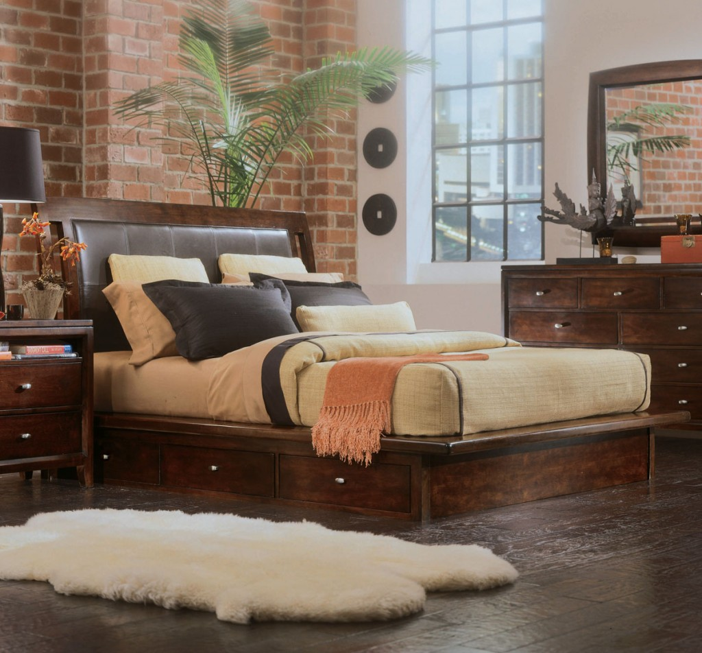 Leather Headboard Captain's Platform Bed